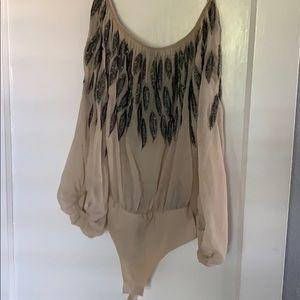 Zara Beaded feather bodysuit